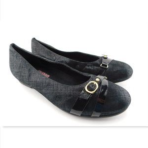 MUNRO Black Leather Belted Ballet Flats 10 W